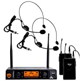 "Nady DW-22 Dual Digital Wireless Headset Microphone System – Ultra-low latency with QPSK modulation - XLR and ¼"" outputs – UHF rangewith HM-3 Unidirectional Headmic"