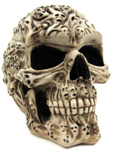 7.5 Inch Spirit Ghost Print Skull Removable Top Desktop Figurine]()