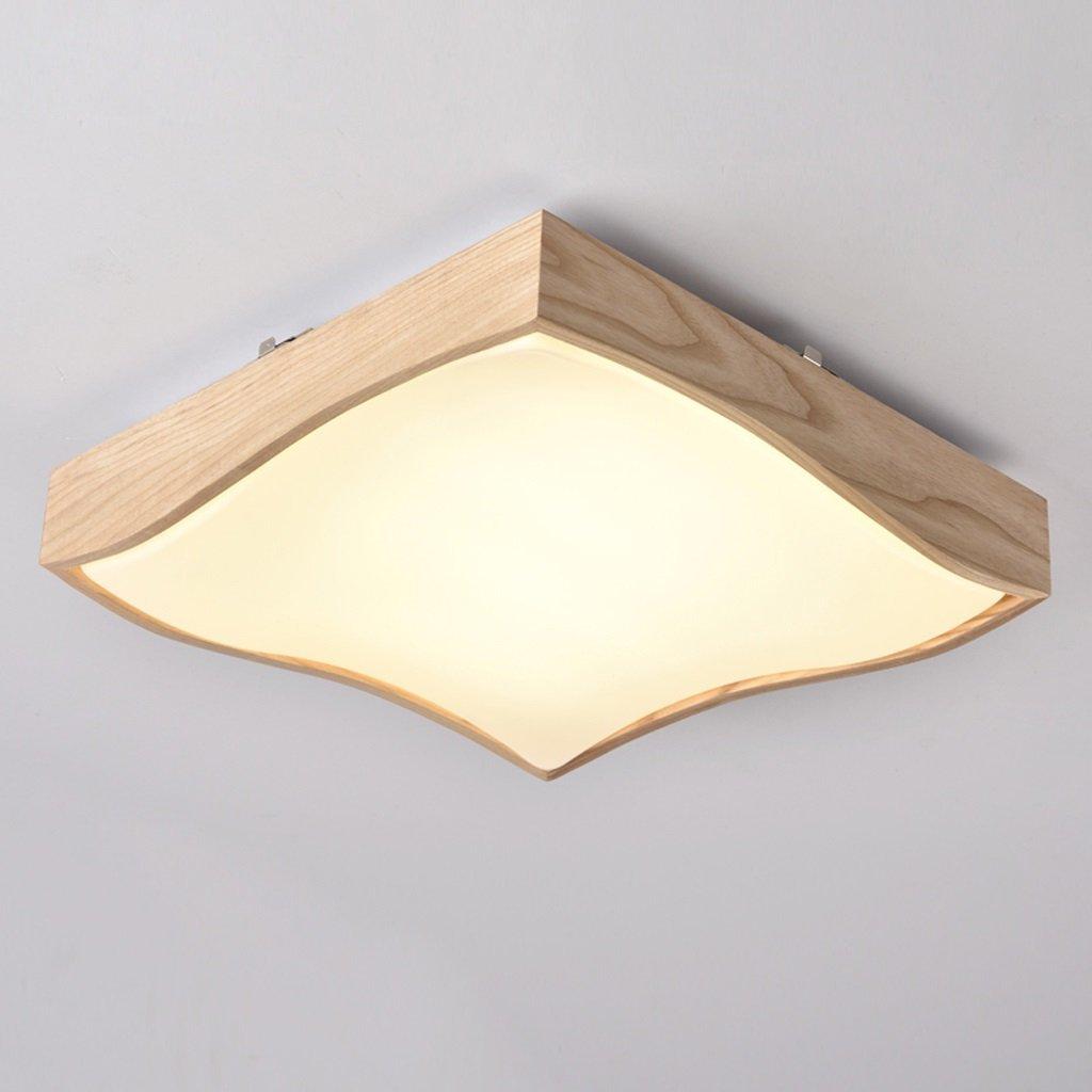 Ywyun Einfache Deckenleuchte, Smart Einstellbare LED Deckenleuchte, Japanische Holz Platz Wohnzimmer Schlafzimmer Küche Lampe Energiesparlampe, 42 * 10cm