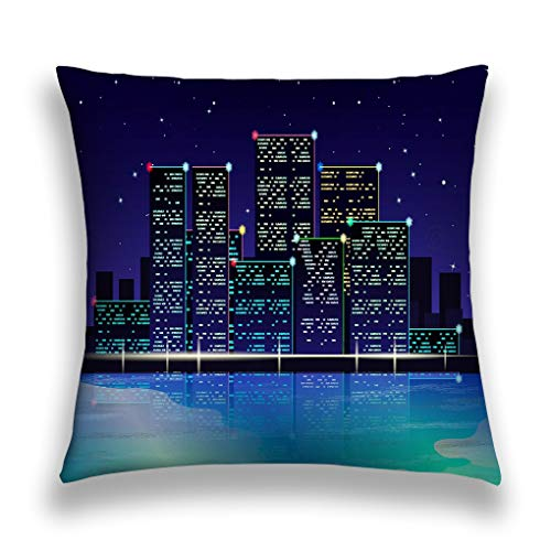 wuhandeshanbao Throw Pillow Cover Pillowcase Night City Lights Beach neon Light Starry Sky Night City Lights Beach neon Light Starry Sky Watermark Sofa Home Decorative Cushion Case 18