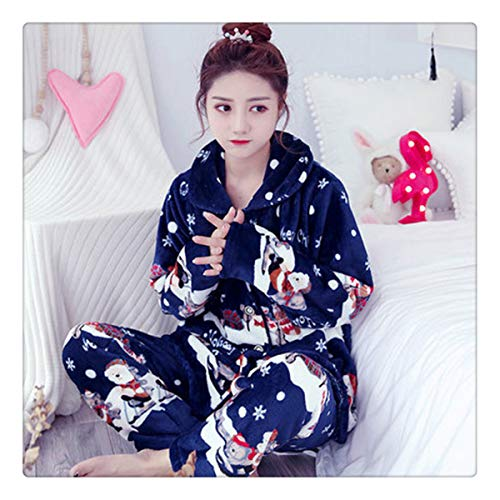 Autumn Flannel Women Pajamas Sets Female Turn-Down Collar Full Sleepwear for Women's Pajamas Winter Home Suits Pyjama Color 12 XXL -