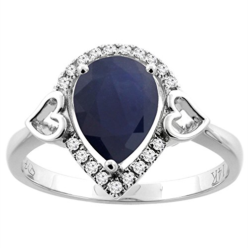(14K White Gold Natural Diffused Ceylon Sapphire Ring Pear Shape 9x7 mm Diamond Accents, size 10)