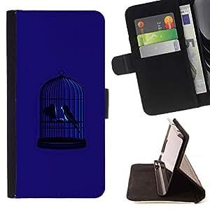 For Apple Apple iPhone 4 / iPhone 4S Case , Blue Bird Jaula Libertad Metáfora Profundo- la tarjeta de Crédito Slots PU Funda de cuero Monedero caso cubierta de piel