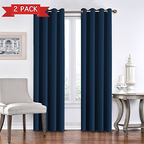 Cheap Blackout Curtain Panels Window Draperies – (True Navy) 52×84 Inch, 2 Pieces, Insulating Room Darkening Blackout Drapes for Bedroom