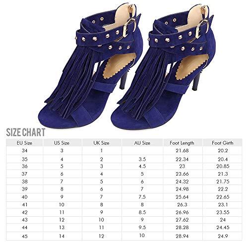 Sandales Glands Sexy Rivets Glissière Et À Avec Rosegal Femmes Bleu Boucle zB1dx