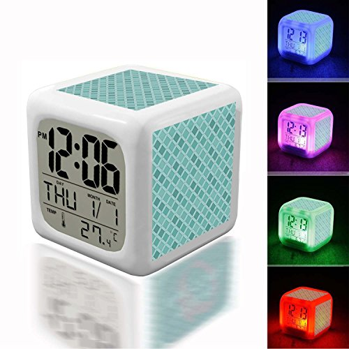 Alarm Clock 7 LED Color Changing Wake Up Bedroom with Data and Temperature Display (Changable Color) Customize the pattern-563.Teal Patterned Abstract Wallpaper Data Colours