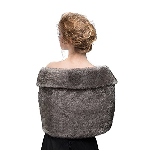 MISSYDRESS Women's Wedding Bridal Faux Fur Shawl/Stole/Wrap for Dress/Party Gray L