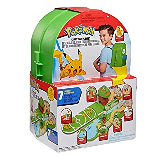 "Pokemon Carry Case Playset, Feat. Different Locations Within One Playset, with 2"" Pikachu Figure, Plus Accs Like Treetop Trap Door, Battle Area, Hidden Cave & More - Easily Folds into a Backpack"