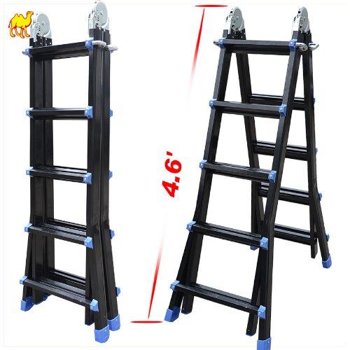 StrongCamel 15.75' Telescoping Extension Aluminum Multi-function Telescopic Ladder EN131