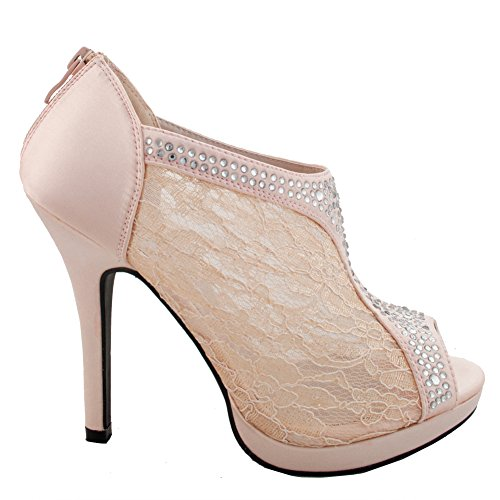 Wedding Bridal High Heel Platform Cystal Lace Ankle Bootie (Pink) 8 US