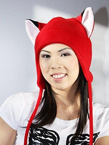 Red fox Ear Naruto Hat Aviator Earflap Feline Kitty Kitten Fleece Anime Manga Ski Snowboarding Convention Goth Punk Rave clubbing Costume Cosplay Halloween fox Christmas Gift