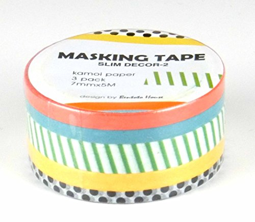 OfficeA Washi Masking Tape for Decoration 7mm Slim-Line, 3 roll set (DECOR-2)