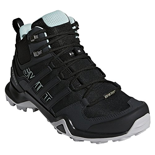 adidas outdoor Womens Terrex Swift R2 Mid GTX Shoe (7.5 - Black/Black/Ash Green)
