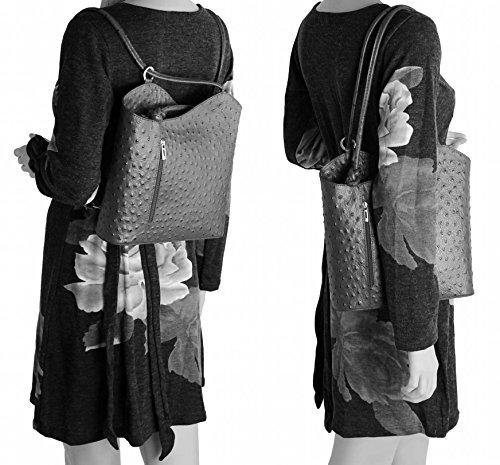 OBC ITAL DAMEN LEDER TASCHE RUCKSACK Handtasche Umhängetasche Schultertasche Shopper Henkeltasche Kroko Prägung Ledertasche Backpack (Türkis (Kroko)) Grau (Strauß) neJxXkfKpe