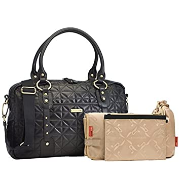 ce1533fc1a00f Amazon.com : Storksak - Elizabeth - Leather - Diaper Bag, Quilted Black :  Diaper Tote Bags : Baby