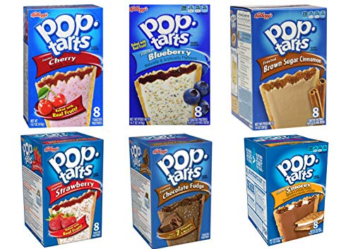 Pop-Tarts Breakfast Toaster Pastries 8 count each (416g ea). Variety Pack of 6 Popular Flavors. Strawberry, Choco Fudge, Blueberry, Pastries S'mores, Cherry, Brown Sugar Cinnamon. Set of 6