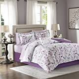 Purple Bed in a Bag Madison Park Essentials Lafael Queen Size Bed Comforter Set Bed in A Bag - Purple, Grey, Vine Leaf – 9 Pieces Bedding Sets – Ultra Soft Microfiber with Cotton Sheets Bedroom Comforters