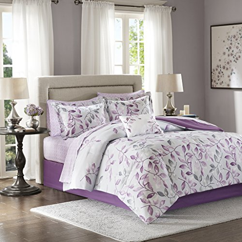 - Madison Park Essentials Lafael Cal King Size Bed Comforter Set Bed in A Bag - Purple, Grey, Vine Leaf - 9 Pieces Bedding Sets - Ultra Soft Microfiber with Cotton Sheets Bedroom Comforters