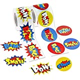 JPSOR 600 Pcs Superhero Roll Stickers Funny Express Paper Stickers for Kids Superhero Party Supplies (2 Rolls)