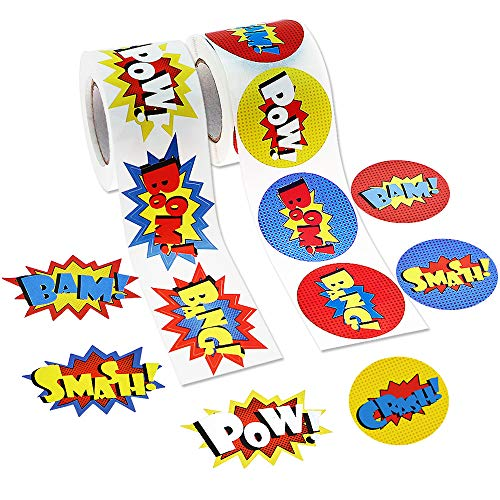 JPSOR 600 Pcs Superhero Roll Stickers Funny Express Paper Stickers for Kids Superhero Party Supplies (2 Rolls) -