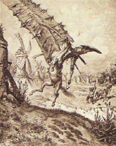 Gustave Dore Don Quixote and the Windmill 72x91 [Kitchen]