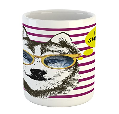 (Ambesonne Alaskan Malamute Mug, Purple Stripes with Husky Sketch Yellow Hipster Glasses Hello Summer Words, Printed Ceramic Coffee Mug Water Tea Drinks Cup, Multicolor)