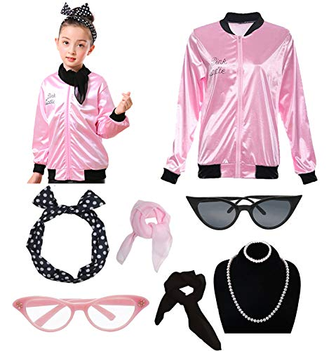 1950s Child Grease Girls 50's Pink Ladies Jacket Costume Outfit Set (S, Pink) -