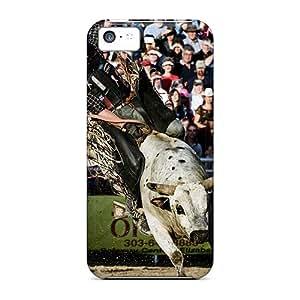Shock Absorption Hard Phone Covers For Iphone 5c (LlU17063thFJ) Unique Design Beautiful Bull Riding Image