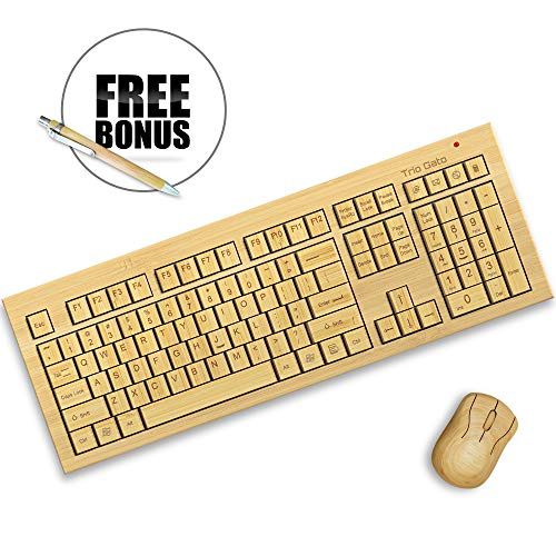 TrioGato's Standard Size Bamboo Wireless Keyboard and Mouse. Eco Friendly, Handcrafted, Standard Size Design + Bonus (Bamboo Keyboard Mac)