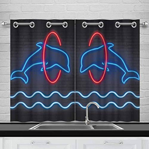 InterestPrint Dolphin Jumping Through a Hoop Blackout Window Treatment Panels Thermal Insulated Drapes for for Bedroom, 2 Panels 26x39 Inch