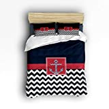 red and white chevron quilt - 4 Pcs Bedding Set- Nautical Anchor Chevron Zig Zag Ripple Dark Blue Red White Duvet Cover Set Ultra Soft and Easy Care Sheet Quilt Sets with Decorative Pillow Covers for Kids Adults- Queen