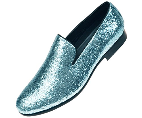 Amali Mens Metallic Turquoise Sparkling Glitter Tuxedo Slip On Dress Shoe: Style Barnes-025 (Mens Dress Up Outfits)