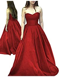 Elegant Long Strapless Satin Prom Dress Simple Sweetheart Evening Gown