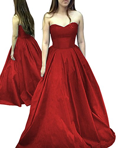 Yangprom Elegant Long Strapless Satin Prom Dress Simple Sweetheart Evening (Red Satin Strapless Dress)