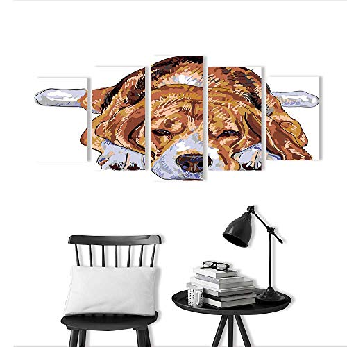 5 Panel Wall Art Set Frameless Beagle is Resting Maybe Going to Sleep for The Kitchen, Dining Room, Living Room, bar and so on -  Auraise-home