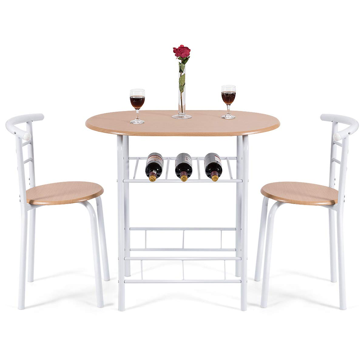 COSTWAY Küchenbar, Sitzgruppe Küche, Esstisch Esstisch Esstisch mit 2 Stühlen, 3tlg. Balkonset ac2d8b