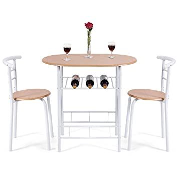 COSTWAY Küchenbar, Sitzgruppe Küche, Esstisch mit 2 Stühlen, 3tlg ...
