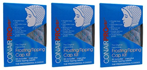 MGS Bundle Conair Pro Frosting/Tipping Cap, 4 Count [3 Pack]