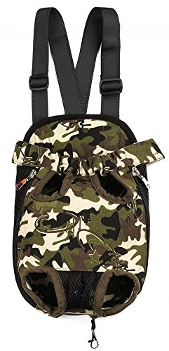 Samia® Pet Dog Puppy Cat Carrier Five Holes Backpack Double Shoulder Straps Canvas Cotton Front Chest Backpack Bag (Camouflage, (Designer Puppy Carriers)