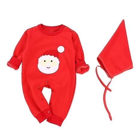 Qiusa Traje de bebé, lindo Papá Noel estampado mameluco + ...