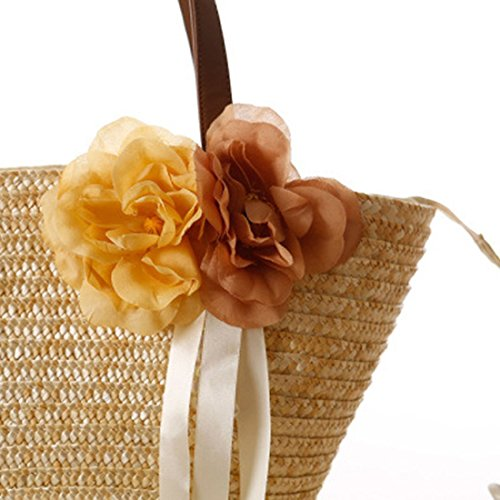 Hobo Handmade Bag Beach Shoulder Retro Bag EROUGE Bag Summer Beige Bag Large Woven Straw FvZnwx