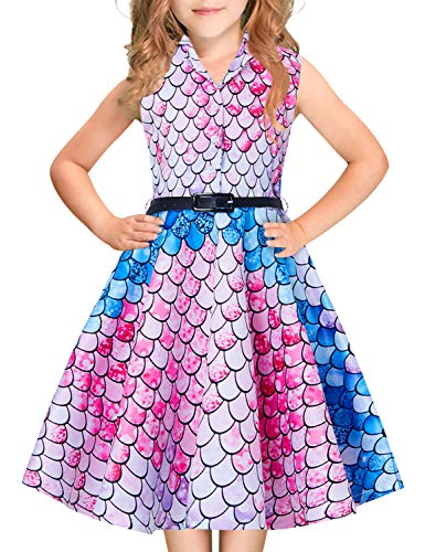 8-9 Years Old Retro Dresses for Little Kids Princess Girls Kawaii Printed Blue Pink Rose Red Mermaid Scale Big Girl's Button Down Collar Midi Long Lace Swing Casual Skirts for Wedding Prom Ball Gowns