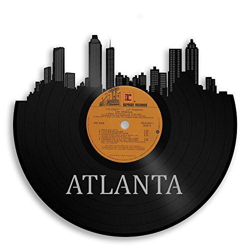 VinylShopUS - Atlanta Vinyl Wall Art City Skyline | Old Album Best Idea Ecofriendly | Emory Dorm Cool Fan Room Decor ()