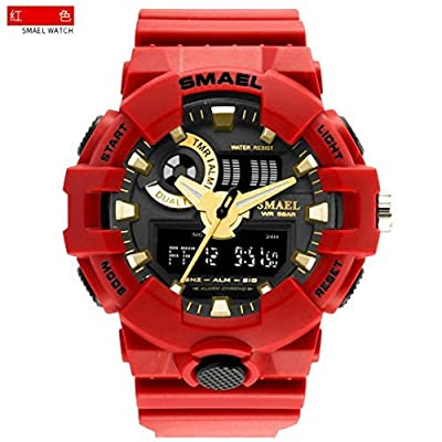 SMAEL AL35 Men's Sports Digtal Watch Dual Quartz Movement Military Time Water Resistant with Backlight (Red-gold) from SMAEL