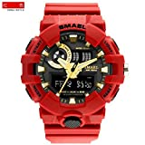 SMAEL AL35 Men's Sports Digtal Watch Dual Quartz Movement Military Time Water Resistant with Backlight (Red-gold)