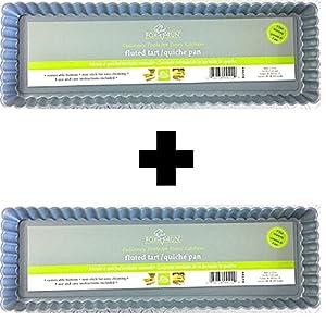 Fox Run Preferred Non-Stick 14 Inch x 5 Inch Loose Bottom Rectangular Tart/Quiche Pan (2)