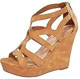 Top Moda Womens Ella-15 Fashion Wedge Sandals TAN 6.5