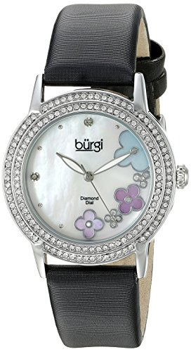 Burgi Women's BUR142SSW Silver Quartz Watch With Swarovski Crystal and Diamond Mother of Pearl Dial With Black Leather - Black Pearl Dial Leather