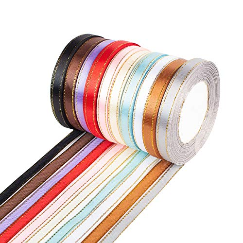 BESKIT 10 Colors 250 Yard Fabric Ribbon Silk Satin Roll Satin Ribbon Rolls in 2/5 Wide, 25 Yard/roll, 10 Rolls, Satin Ribbon with Golden Edges for Bows Crafts Gifts Party Wedding