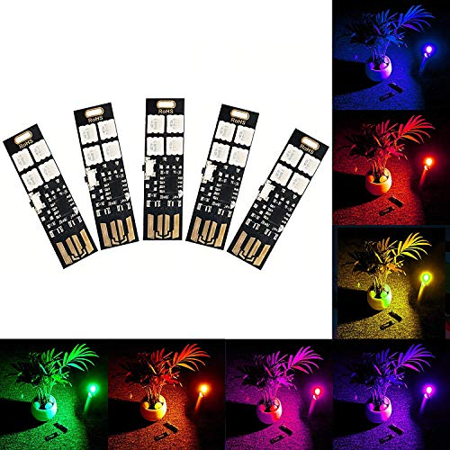 Multi Color Changing USB Lights Lamp 7 Colors Night Light 5050 RGB 4-LEDs Switch Control, USB LED TV Backlight Kit,Table Lamp,Desk Decor Lighting,Party Mood Lights,Laptop Keyboard Light by Yitee